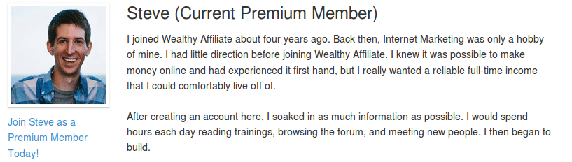 Wealthy Affiliate Testimonial by Steve from IveTried That
