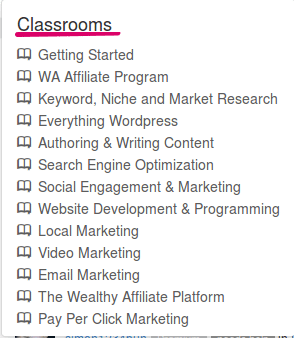 Wealthy Affiliate Review- Classes