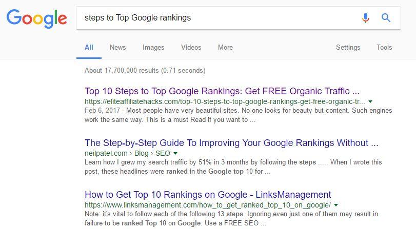 Success in Google Rankings