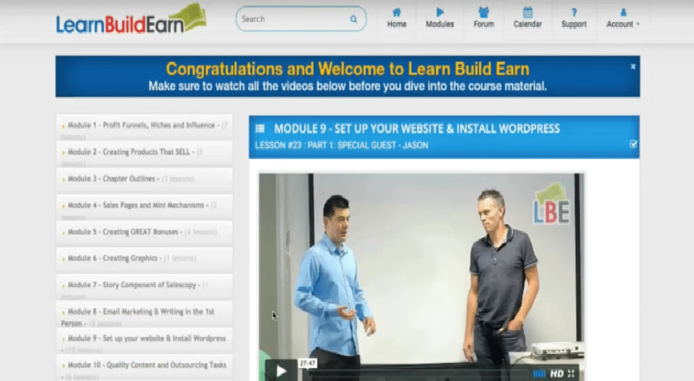 Learn Build Earn Review- Training Modules Inside the Members Area