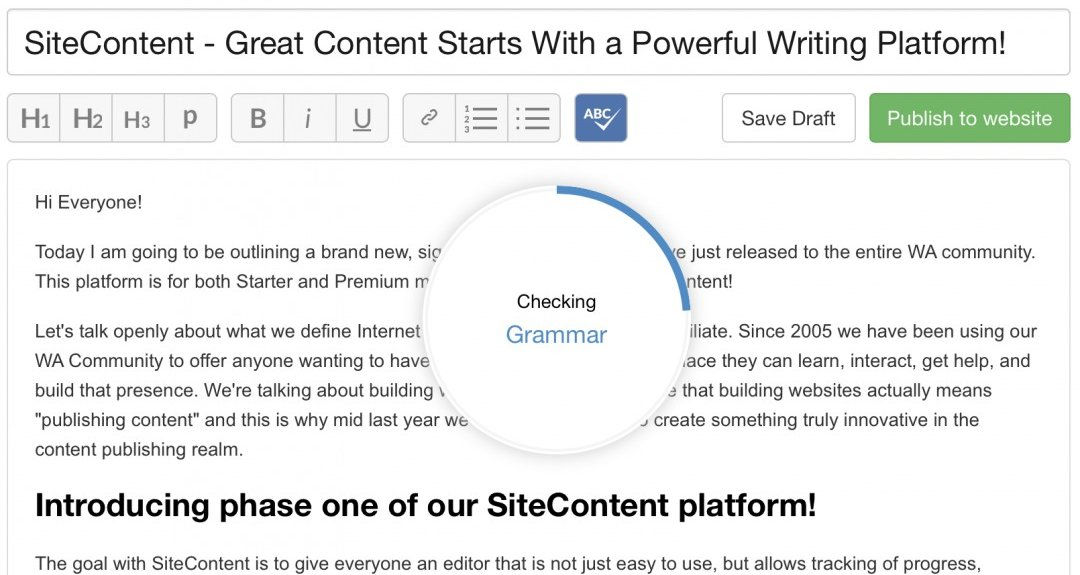 This is an Image Showing Wealthy Affiliate SiteContent Checking Grammar