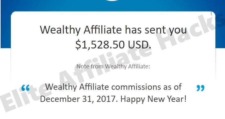 This is an Image Showing PayPal Payments of The Wealthy Affiliate