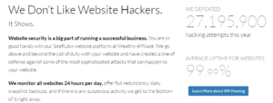 Wealthy Affiliate Hacking attempts Defeated