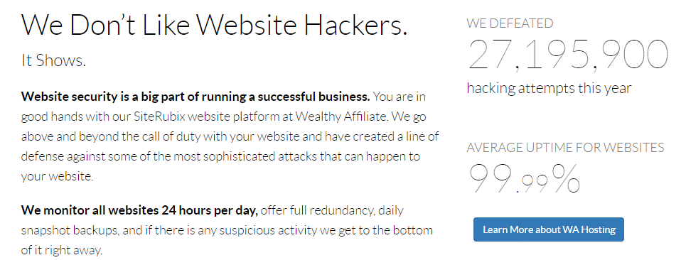 This is an Image on Wealthy Affiliate Review Showing Hacking attempts Defeated