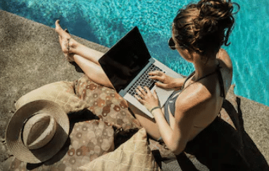 This is an image showing A Digital nomad who can work from anywhere in the world