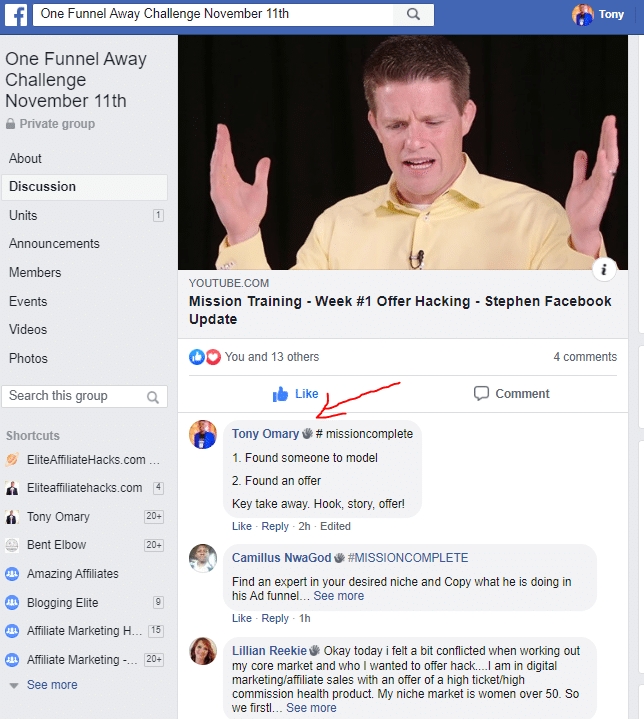 One Funnel Challege Away FACEBOOK group